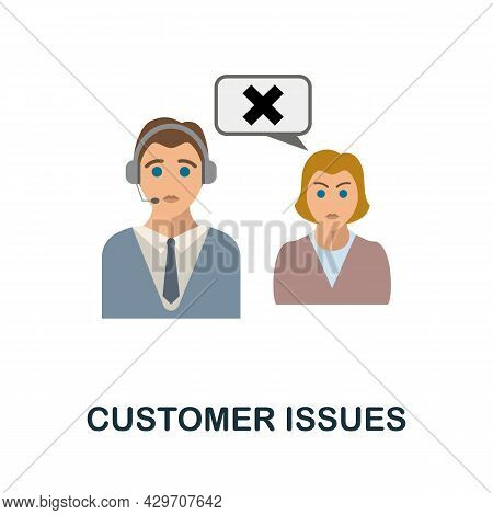 Customer Issues Flat Icon. Colored Sign From Customer Management Collection. Creative Customer Issue