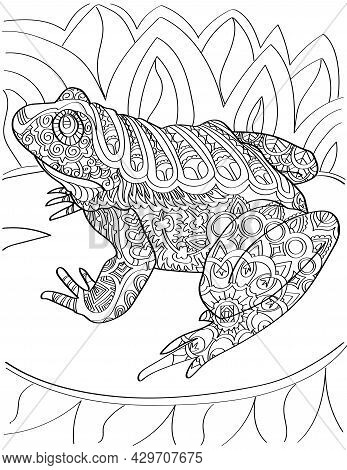 Large Toad On Water Lily Looking Sideward Colorless Line Drawing. Huge Bullfrog Resting On A Plant I