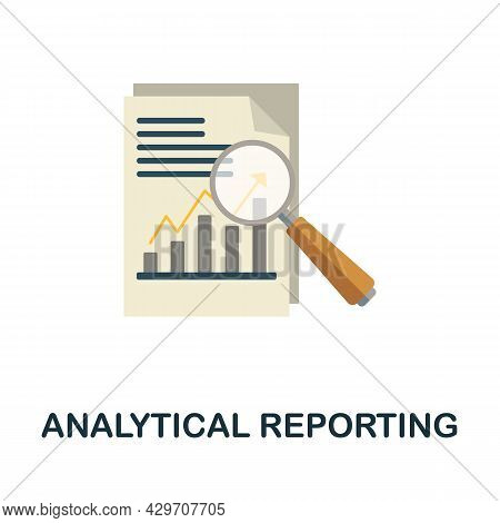 Analytical Reporting Flat Icon. Colored Sign From Customer Management Collection. Creative Analytica