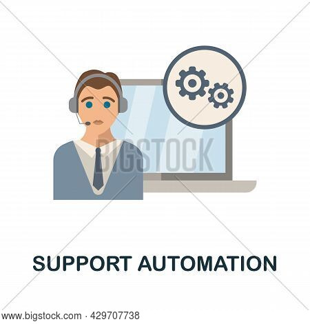 Support Automation Flat Icon. Colored Sign From Customer Management Collection. Creative Support Aut