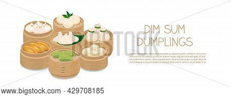 Momo And Dim Sum Food Sets In Bamboo Steamer Baskets. Steamed Dumplings Banner Template Isolated On