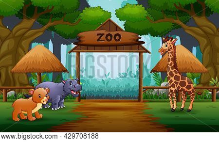 Zoo Entrance Gates Cartoon With Safari Animals Illustration