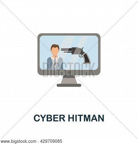 Cyber Hitman Flat Icon. Colored Sign From Dark Web Collection. Creative Cyber Hitman Icon Illustrati