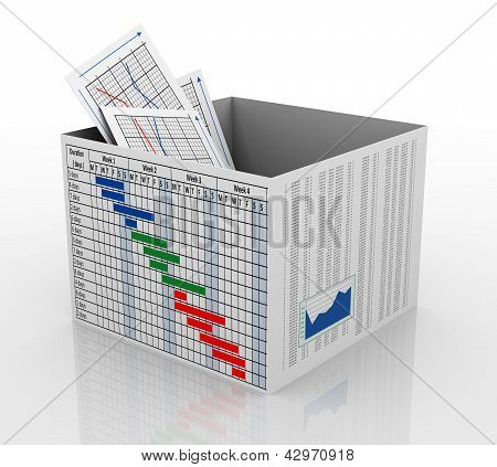 3D Business Chart In The Box