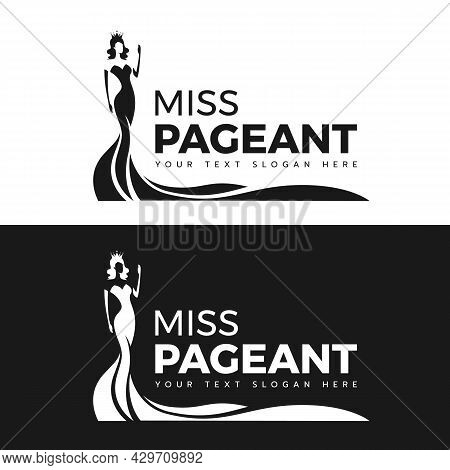 Miss Pageant Logo - Black And White The Beauty Queen Pageant In Long Evening Gown Wearing A Crown An