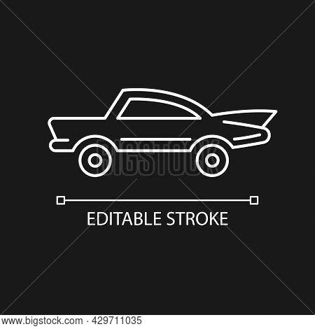 Classic Car White Linear Icon For Dark Theme. Nostalgic Value. Vintage Automobile. Thin Line Customi