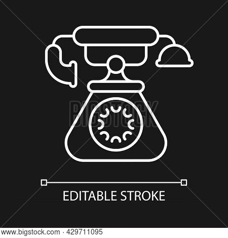 Vintage Telephone White Linear Icon For Dark Theme. Old School Rotary Phone. Candlestick Telephone.