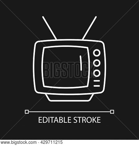 Old-style Television White Linear Icon For Dark Theme. Transmitting Moving Images In Monochrome. Thi