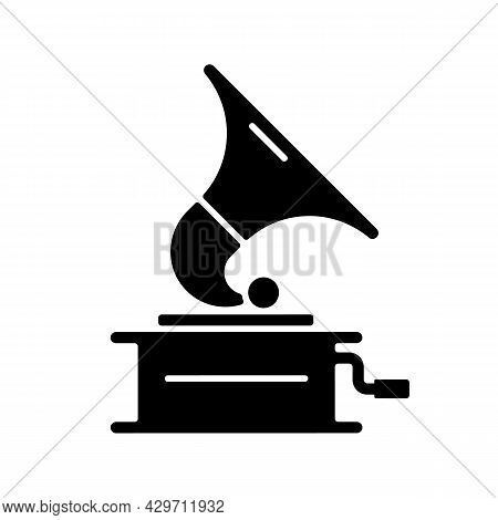 Gramophone Black Glyph Icon. Phonograph Records. Device For Mechanical Sound Reproduction. Home Ente