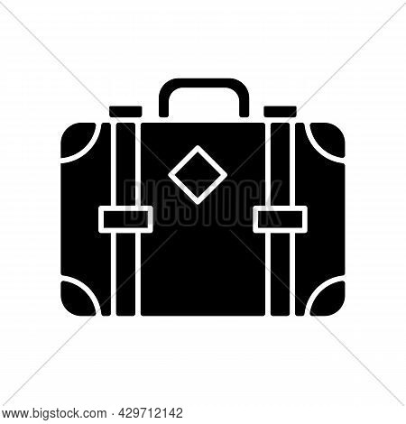 Old-fashioned Style Suitcase Black Glyph Icon. Vintage Luggage. Travel Accessory. Victorian Travelin