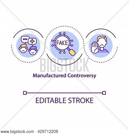 Manufactured Controversy Concept Icon. Confusion Creation. Contrived Disagreement. Polarization Opin