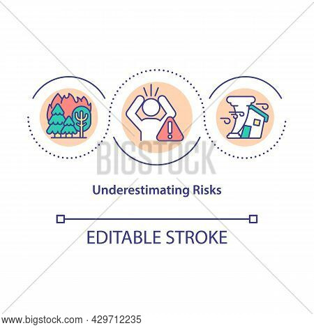 Underestimating Risks Concept Icon. Global Warming Issues. Climate Change Human Denial. Wildfires In