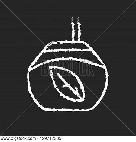 Tea Gourd Cup Chalk White Icon On Dark Background. Traditional Latin Beverage. Utensil For Yerba Mat