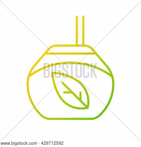 Tea Gourd Cup Gradient Linear Vector Icon. Traditional Latin Beverage. Utensil For Mate. Hot Drink R