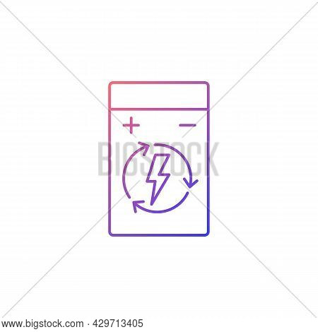 Rechargeable Lithium Polymer Battery Gradient Linear Vector Manual Label Icon. Thin Line Color Symbo
