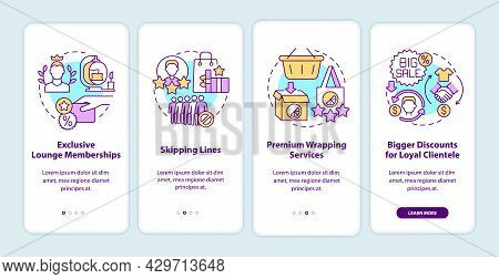 Loyalty Program Perks Onboarding Mobile App Page Screen. Benefits For Loyal Clients Walkthrough 4 St