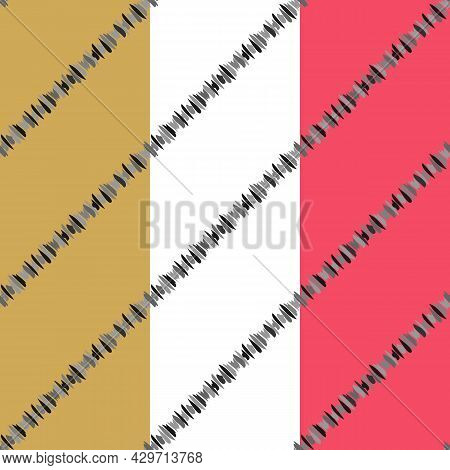 Ink Brush Spots Line. Diagonal Striped Geometric Seamless Pattern, Gray Shades Color Palette. Pink,