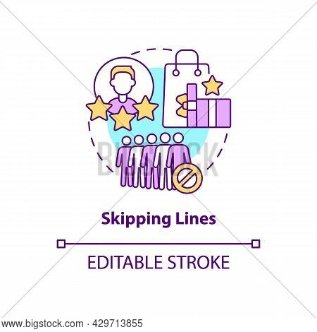 Skipping Lines Concept Icon. Perks And Benefits Of Loyalty Program Abstract Idea Thin Line Illustrat