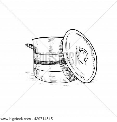 Saucepan. Hand-drawn Sketch. Black And White Illustration, Vector.