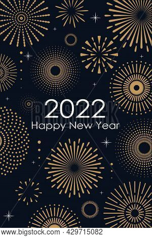 2022 New Year Abstract Background With Gold Fireworks