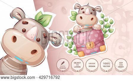 Rhino With Diplomat - Cute Sticker. Vector Eps 10