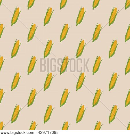Seamless Vector Pattern With Fresh Ripe Corn Cobs. Hand Drawn Vector Illustration