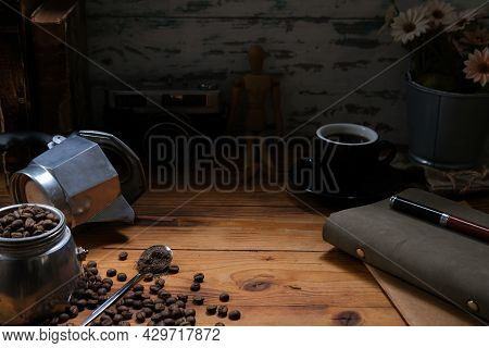 Mock Up With Vintage And Retro Decoration, Moka Pot, Coffee Beans, Espresso Coffee, Camera And Diary