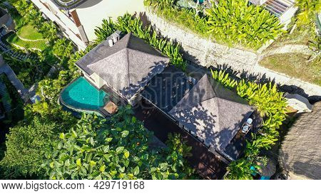 Aerial View Of A Resort And Bungalows In Tourist Destination Ubud, Bali, Indonesia