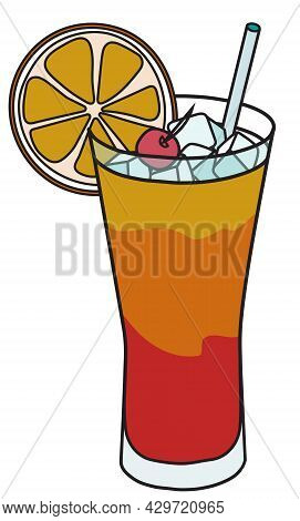 Stylish Hand-drawn Doodle Cartoon Style Yellow Red Orange Tequila Sunrise Cocktail In Highball Glass