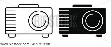 Linear Icon. Cinema Projector For Projecting Film And Images Onto Wide Screen. Equipment For Home Mu