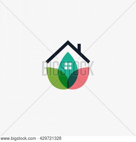 Garden House Logo Template Design Farming Logotype, Chalet Abstract Icon, Petal Or Leaves House, Eco