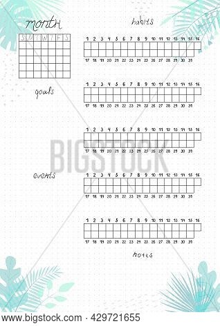 Printable A4 Paper Sheet, Minimalist  Bullet Journal Page With Blank Month Planner, Goals, Events, H