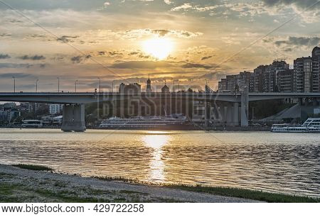 Panoramic View Of Evening Rostov-on-don City With Golden Sunset. Voroshilovsky Bridge Over Don River