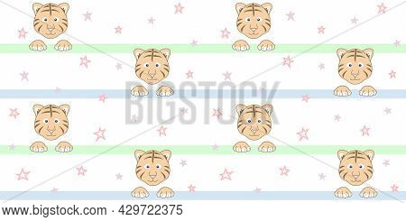 Endless Texture With Cute Tiger Cub Face And Paws On A White Striped Background With Small Stars. Ve