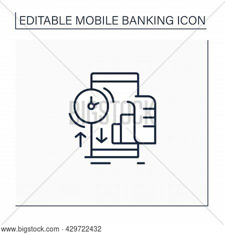 Transaction History Line Icon.record Of Every Transaction Within Certain Period Of Time.getting From