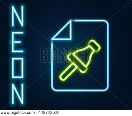 Glowing Neon Line Note Paper With Pinned Pushbutton Icon Isolated On Black Background. Memo Paper Si