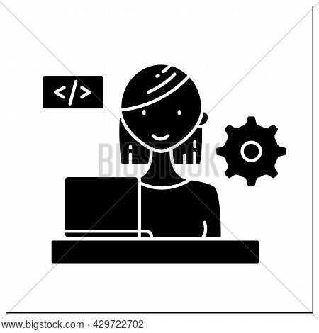 Woman Software Engineer Glyph Icon.system Maintenance And Development. Computer Programmer.writing C