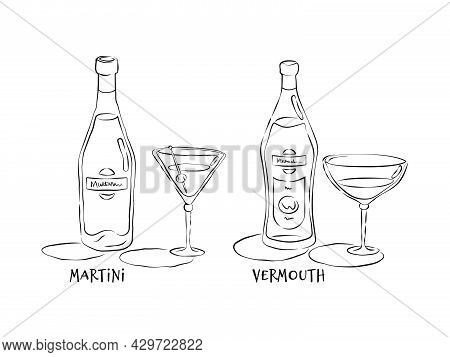 Vermouth And Martini. Bottle And Glass In Hand Drawn Style. Restaurant Illustration For Celebration