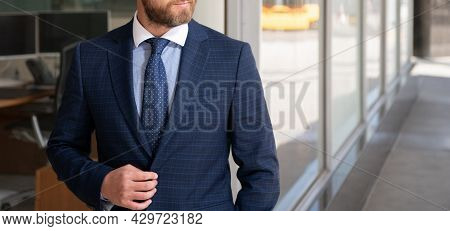 Cropped Man Manager In Businesslike Suit Outside The Office, Business Fashion