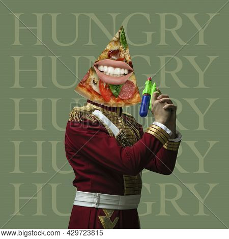 Time To Eat. Model Like Medieval Royalty Person In Vintage Clothing. Concept Of Comparison Of Eras,