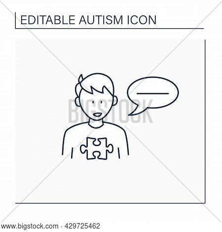 Neurodevelopmental Disorder Line Icon. Flat, Monotonous Speech. Difficulties With Tone. Autism Spect