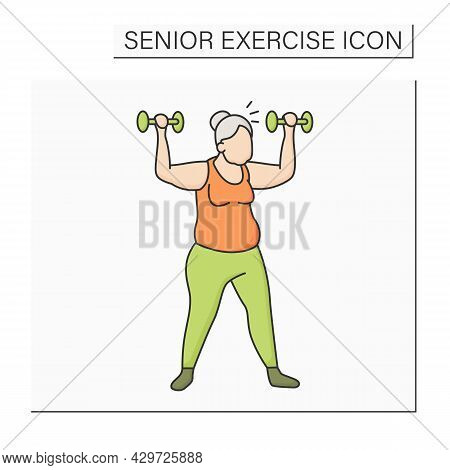 Workout Color Icon. Exercises With Dumbbells. Low Impact Training. Cardio. Prevention Diseases. Seni