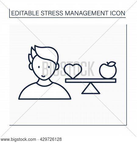 Balance Line Icon. Maintain Balance With Healthy Lifestyle. Health Protection. Avoiding Unhealthy Fo