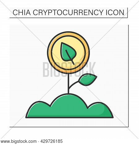 Farming Chia Coin Color Icon. Farmers Seed Unused Space On Hard-disk Drive By Installing Software. C