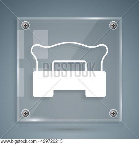 White Bedroom Icon Isolated On Grey Background. Wedding, Love, Marriage Symbol. Bedroom Creative Ico
