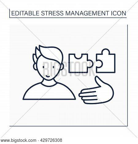 Compromise Line Icon. Willing To Accommodate. Avoid Stress. Mental Health Concept. Isolated Vector I