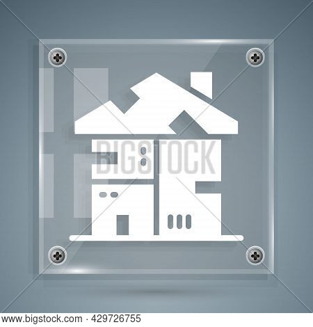 White Homeless Cardboard House Icon Isolated On Grey Background. Square Glass Panels. Vector