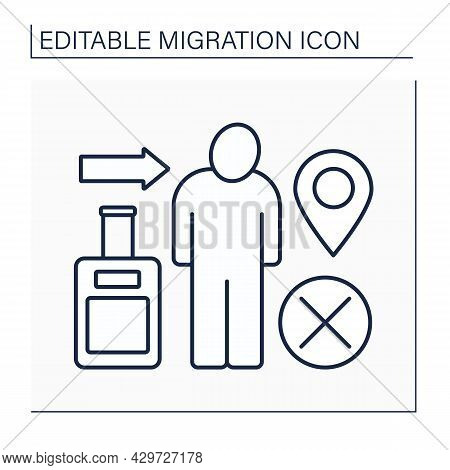 Immigration Line Icon. Relocation Ban. Troubles With Coming Back To Home Country. Migration Concept.