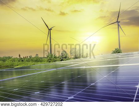 Solar Photovoltaic Cell In Blue Sky For Alternatively Power Generator Source, Renewable Energy For F