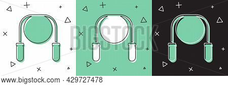 Set Jump Rope Icon Isolated On White And Green, Black Background. Skipping Rope. Sport Equipment. Ve